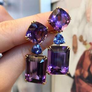 Gorgeous 925 Silver Wedding Amethyst Drop Earrings for Women Tanzanite Jewelry