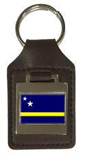 Leather Keyring  Engraved Netherlands Antilles Flag