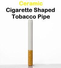 Ceramic Cigarette Style Shaped Tobacco Pipe / Metal & Glass Alternative