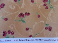 Red Buds/Berries & Green Stems on Mottled Gold by Maywood Studio - 1 Yard