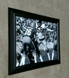 Pittsburgh Steelers Jack Lambert vs 49ers Joe Montana 8x10 framed photo