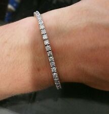 5.6 CT F SI IDEAL CUT NATURAL DIAMOND TENNIS BRACELET 14K WHITE GOLD 6.5 INCHES