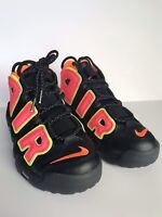 NIKE AIR MORE UPTEMPO BLACK HOT PUNCH VOLT 917593 002 Women size 8
