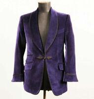 95 Purple Velvet Prom Dinner Tuxedos Mens Shawl Lapel Formal Wedding Groom Blaze