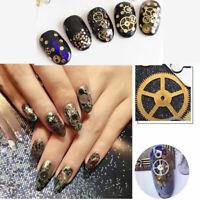 Fashion 3D Nail Art Decoration Ultra-thin Bronze Time Steam Manicure Wheel D9K8