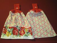 LOT OF 2 CROCHET TOP KITCHEN BATH HAND TOWELS FOR THE PIONEER WOMAN ENTHUSIAST