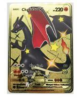 Carte Pokemon Metal Gold Dracaufeu/ Charizard V Shiny Fan Made