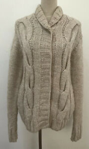 Ralph Lauren Oatmeal Hand Knitted Wool & Alpaca Chunky Cable Knit Cardigan S 8