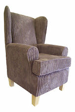 Wing Back Fireside Chair Soft Grey Jumbo Cord Fabric