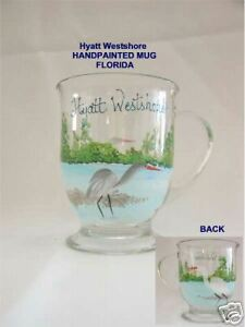 Crane & Egret ~ HAND PAINTED MUG CUP ~  Hyatt Westshore ~ FLORIDA