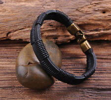 G28 New Surfer Hemp Wrap Leather Handmade Men's Wristband Bracelet Cuff Black B