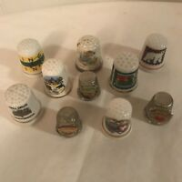 Vintage Lot of 10 Thimbles porcelain pewter silver tone California, Mt. Rushmore