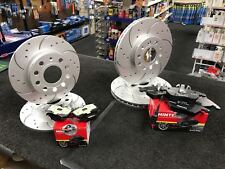 AUDI A3 2.0 140 8P DRILLED CURVED GROOVED BRAKE DISCS & MINTEX PADS FRONT REAR