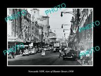 OLD LARGE HISTORIC PHOTO OF NEWCASTLE NSW VIEW OF HUNTER STREET c1950