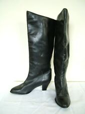 Vintage 80s Bally black leather knee length boots, UK 4.5 5 37.5 38