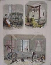 GRAVURE SUR BOIS AQUARELLEE 1855 ATELIER LYON SOIE DEVIDAGE OURDISSAGE PLIAGE
