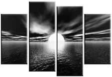 LARGE BLACK & WHITE CANVAS PICTURE SEASCAPE SEA SUNSET SPLIT 4 PANEL 100cm wide