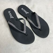 Reef Flip Flops Sandals Nordstrom Size 5 Black Silver Slip On Shoes NEW