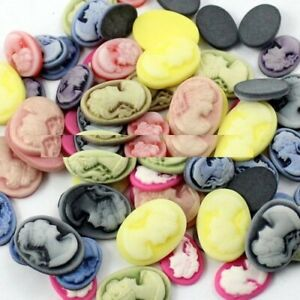 50pcs Flat Back Cameos Cabochons Blank Brooch Findings DIY Jewelry Making Supply