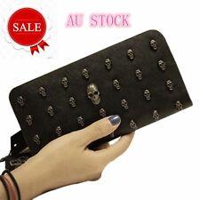 Ladies Skull Smile 3D Studded Leather Great Purse Wallet Bag Handbag 9C0