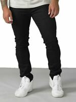 D555 Mens Big Size Tapered Fit Stretch Jeans In Black (Claude)
