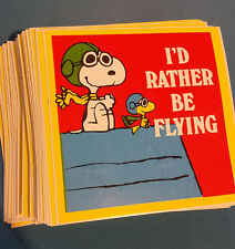 50 Vintage PEANUTS  SNOOPY I'd Rather Be Flying Bumper Stickers NOS 80's Unused