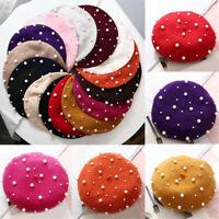 Women Beret Winter Woolen Knit Hat Baggy Fashion Sweet Pearl French Cap Beanie