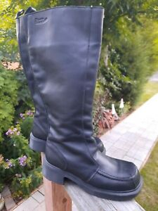 """Dr Martens Chunky Knee Boot Black Leather Zip Up Made England Size 9, 17"""" height"""