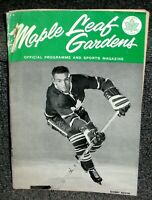 DEC 22 1962 MAPLE LEAFS VS RANGERS MLG OFFL PROGRAM STANLEY CUP CHAMPS SEASON