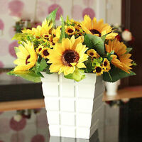 7Heads Bouquet Artificial Big Sunflower Silk Flowers Room Home Floral Decor Cute