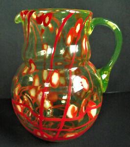 "KRALIK Red URANIUM VASELINE 9"" LINES CANES Czech BOHEMIAN Art DECO Glass PITCHER"