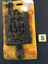 VTG. NOS CAST IRON ORNATE DECORATIVE  HANGING HOOK