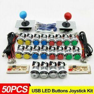 50Stück LED PC Arcade Spiel Ersatz Button Taster Knöpfe Joystick USB Encoder Kit
