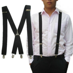 Mens 4 Colors Elastic Suspenders Leather Braces X-Back Adjustable Clip-on Good P