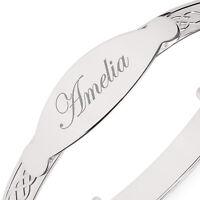 Womens Silver ID Bangle Personalised Celtic Design Engraved Expandable Bracelet