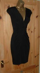 Jane Norman black stretchy grecian drape bodycon wiggle party dress size 10 12