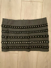 GREY LEATHER SHORT SKIRT MINI CLUB RIVER ISLAND 8 WINTER TOWIE SMART CASUAL FIT