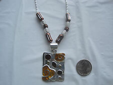 """Retro Silver Pendant and Beads on 22"""" Silver Necklace~Free Ship~LBDLB"""