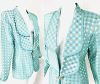 VTG KAREN LAWRENCE Mint Green Metallic Gold Polka Dot Avant Garde Eve Jacket M/L