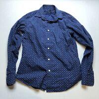 Banana Republic Soft Wash Tailored Slim Fit Blue Print Button Up Shirt Sz S A464