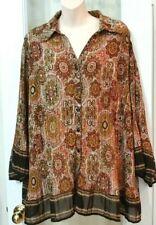Womens Dressbarn Brown Gold Khaki Boho Gypsy Blouse Shirt Tunic Top 2x 24w Plus