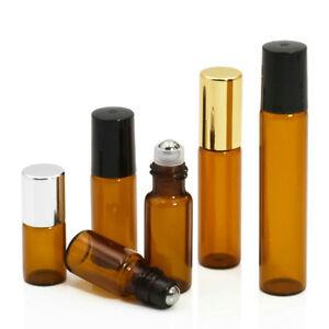 10PCS 5/10ml Empty Amber Roll on Glass Bottles Essential Oil Metal Roller Ball