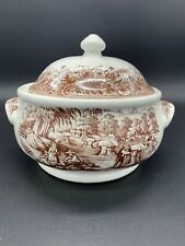 Currier & Ives Brown Harvest Heritage Churchill Covered Casserole Crock England