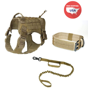K9 Tactical-style Dog Gear 3-pc Set (Tactical Harness + Leash + Collar)