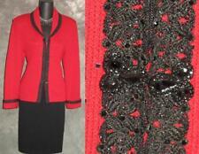 BEAUTIFUL St John evening knit 2pc jacket red black jacket skirt suit size 6 8