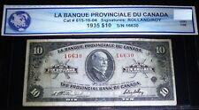 1935 $10 LA BANQUE PROVINCIALE DU CANADA