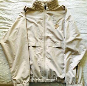 Miami Dolphins beige tan full zip Reebok Golf jacket w/ hidden hood (WORN TWICE)