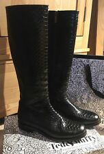 Ted & Muffy Duo Black Croc Effect Knee High Boots Size 38 / UK 5
