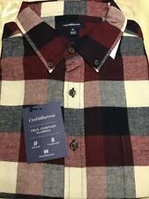 Men's Croft&Barrow True Comfort Flannel L/S Button-Down wine/Navy/bge Buffalo XL