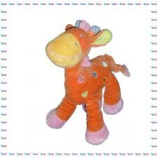 H - Doudou Peluche Girafe Orange avec Broderies Mots d'Enfants